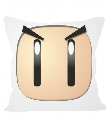 "Bomberman Squarehead Sofa Cushion 12"" Cushion Linen Effect Throw Pillow"